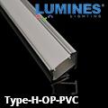 Type-H - Pultvilágításhoz alu sarokprofil LED szalaghoz, opál burával