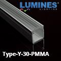 Type-Y - Bútor - pultvilágító profil LED szalaghoz, 30° lencsés PMMA burával