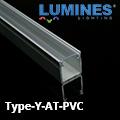 Type-Y - Bútor - pultvilágító profil LED szalaghoz, átlátszó burával