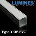 Type-Y - Bútor - pultvilágító profil LED szalaghoz, opál burával
