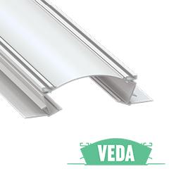 VEDA - Alumínium süllyesztett gipszkarton profil 156x42mm, LED szalagos világításhoz, PMMA opál burával