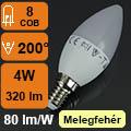 LED lámpa E14 (4Watt/200°) Gyertya - meleg fehér