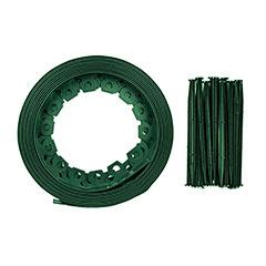 Rugalmas - műanyag, ágyásszegély, gyepszegély, zöld (3,8cm x 10m) hajlítható, leszúrótüskével