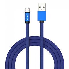 Ruby USB - Micro USB pamut-szövetkábel (1 méter) kék - USB 2.0