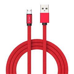 Ruby USB - Micro USB pamut-szövetkábel (1 méter) piros - USB 2.0