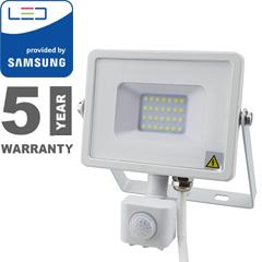 Mozgásérzékelős PRO-W LED reflektor (20W/100°) hideg fehér