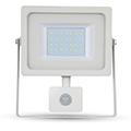 Mozgásérzékelős LED reflektor (30W/100°) 6000K Fehér