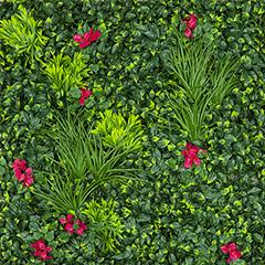 Vertical Villa műanyag zöldfal piros virágokkal (100x100 cm)