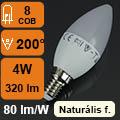 LED lámpa E14 (4Watt/200°) Gyertya - természetes fehér