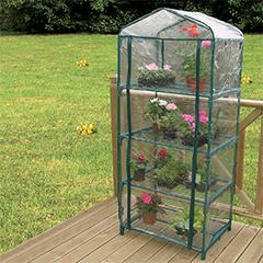 Mini üvegház erkélyre, Balcony fóliasátor 4 polccal, PVC burkolattal (160x70x50 cm)