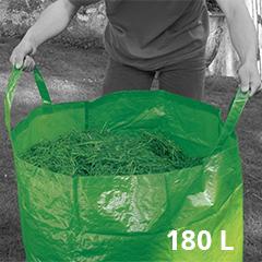 Többször használatos, füles 180L fűgyűjtő zsák (nagy zöld Szíj Melinda szatyor)