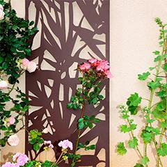 Dekorációs fém panel, leszúrható vagy falra szerelhető (150x60 cm) bambusz