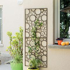 Dekorációs fém panel, leszúrható vagy falra szerelhető (150x60 cm) kör minta
