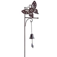 Bellmet földbe szúrható, fém pillangó figura (1m) öntöttvas haranggal