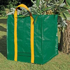 Többször használatos, füles lombgyűjtő zsák, fűgyűjtő zsák (252 Liter) zöld