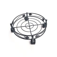 Gurulós virágalátét 32 cm-es: ART DECO kör alakú , fém hálós, fekete színű