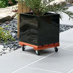 FLORA ROLL LASURE gurítható négyzet alakú virágalátét  ( lakkozott ) barna