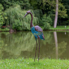 - Heron kócsag figura, antik hatású, fém, rozsdabarna