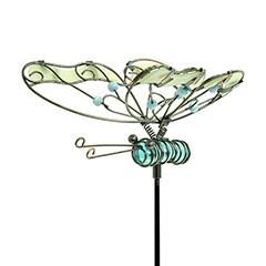 Lucily Pillangó fém kerti dísz, földbe szúrható, foszforeszkáló, kék színű testtel, kicsi