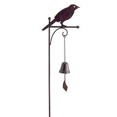 Bellmet földbe szúrható, fém madár figura (1m) öntöttvas haranggal