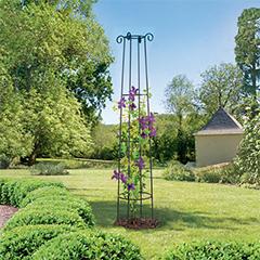 Obelisk növényfuttató oszlop (2 méter magas) barna