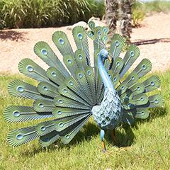 - Peacock páva figura, legyezőszerű tollakkal, fém, zöld