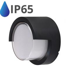 Oldalfali dekor lámpatest - fekete (12W - kerek) természetes fehér IP65