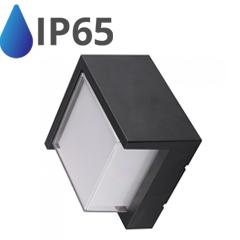 Oldalfali dekor lámpatest - fekete (12W - négyzet) meleg fehér IP65
