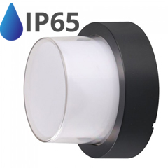 Oldalfali dekor lámpatest - fekete - kör (7W/550Lumen) meleg fehér