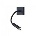 Oldalfali LED olvasólámpa (3W - 3000K) hajlítható, fekete
