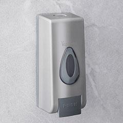 Falra szerelhető kézzel működtethető szappanadagoló (350 ml) ezüst