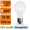 LED lámpa E27 Filament (10Watt/300°) Körte opál - hideg fehér