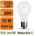 LED lámpa E27 Filament (10Watt/300°) Körte opál - term. fehér