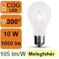 LED lámpa E27 Filament (10Watt/300°) Körte opál - meleg fehér