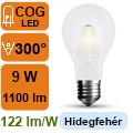 LED lámpa E27 Filament (9Watt/300°) Körte opál - hideg fehér