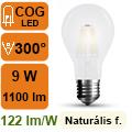 LED lámpa E27 Filament (9Watt/300°) Körte opál - term. fehér