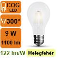 LED lámpa E27 Filament (9Watt/300°) Körte opál - meleg fehér