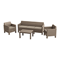 Orlando set with 3 seat sofa műrattan kerti bútor szett - cappuccino - homok
