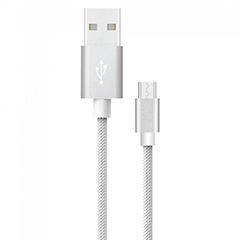Platinum USB - Micro USB nejlon-szövetkábel (1 méter) ezüst - USB 2.0