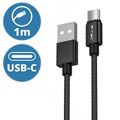 Platinum USB - USB-C nejlon-szövetkábel (1 méter) fekete - USB 2.0
