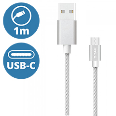 Platinum USB - USB-C nejlon-szövetkábel (1 méter) ezüst - USB 2.0