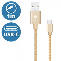 Platinum USB - USB-C nejlon-szövetkábel (1 méter) arany - USB 2.0