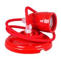 Porcelán függeszték színazonos vezetékkel E27 - piros