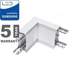 Rec-70 Süllyeszthető irodai LED lámpatesthez L alakú belső sarok csatlakozó (10W - 90°) ezüst ház - 4000K