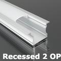 Recessed-2 süllyeszthető alu profil eloxált, LED szalaghoz, opál burával
