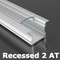 Recessed-2 süllyeszthető alu profil eloxált, LED szalaghoz, átlátszó burával