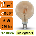 LED lámpa E27 Filament (6Watt/300°) Vintage G125 - 2200K
