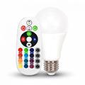 LED lámpa E27 (6W/200°) Körte - RGB+CW+IR távirányítható
