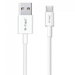 Silver USB - Micro USB adatkábel, töltőkábel (1 méter) fehér - USB 2.0