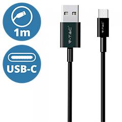 Silver USB - USB-C adatkábel, töltőkábel (1 méter) fekete - USB 2.0